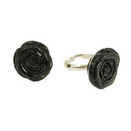 Black Gemstone Rose Ring - each