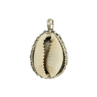 Pendant Seashell Cowrie Brass Silver Plated - each