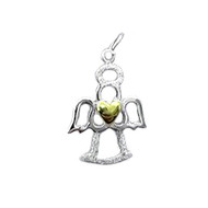 Charm Angel Gold Heart 14X20mm Sterling Silver - each