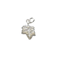 Charm Maple Leaf 15.5x10.5mm with Jump Ring Sterling Silver - each