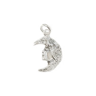 Charm Woman and Moon 19.5x13mm with Jump Ring Sterling Silver - each
