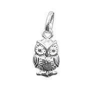 Charm Owl 8X15mm Sterling Silver - each