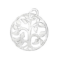 Charm Tree of Life 18mm with Jump Ring Sterling Silver Oxidized - each