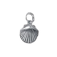 Charm Sea Shell Clam Large Sterling Silver - each