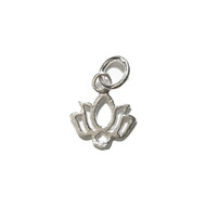 Charm Lotus Flower 12.5x11mm Five Petals Sterling Silver - each