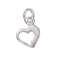 Charm Heart 8x8mm Open Sterling Silver - each
