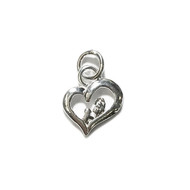 Charm Heart with Family 13.5x12mm with Jump Ring Sterling Silver - each
