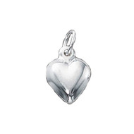 Charm Heart Puffed 8x8mm Sterling Silver - each