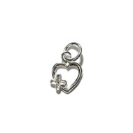 Charm Heart with flower 12x9mm with Jump Ring Sterling Silver - each