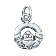 Charm Claddagh 9x12mm Sterling Silver - each