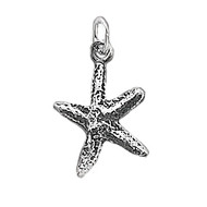 Charm Starfish 12x16mm Antiqued Sterling Silver - each