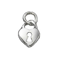 Charm Heart Lock with Key Hole11X14mm - each