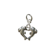 Charm Kissing Dolphins 16x14mm with Jump Ring Sterling Silver - each