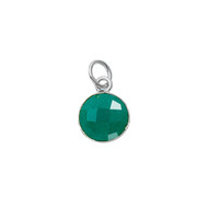 Pendant Dyed Emerald Round 11mm Bezel Sterling Silver  - each