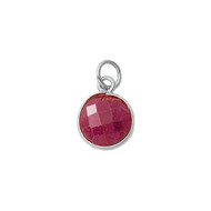 Pendant Dyed Ruby Round 11mm Bezel Sterling Silver  - Each