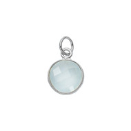 Pendant Sea Green Chalcedony Round 11mm Bezel Sterling Silver  - Each
