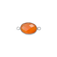 Connector Carnelian 8x12mm Oval Bezel Sterling Silver - each