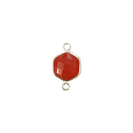 Connector Carnelian 10mm Hexagon Bezel Sterling Silver - each