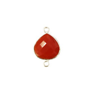 Connector Carnelian 13mm Teardrop Bezel Sterling Silver - each