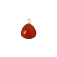 Pendant Carnelian 13mm Trillion Bezel Sterling Silver - each