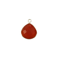 Pendant Carnelian 13mm Teardrop Bezel Sterling Silver - each