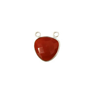 Pendant Two Loop Carnelian 13mm Trillion Bezel Sterling Silver - each