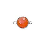 Connector Carnelian 12mm Circle Bezel Sterling Silver - each