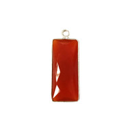 Pendant Carnelian 10x25mm Rectangle Bezel Sterling Silver - each