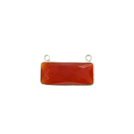 Pendant Two Loop Carnelian 10x25mm Rectangle Bezel Sterling Silver - each