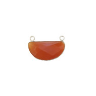 Pendant Two Loop Carnelian 11x22mm Half Moon Bezel Sterling Silver - each