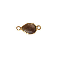Connector Smoky Quartz 10x7mm Pear Bezel Vermeil -  each