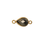 Connector Pyrite 10x7mm Pear Bezel Vermeil - each