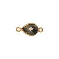 Connector Pyrite 10x7mm Pear Bezel Vermeil - each
