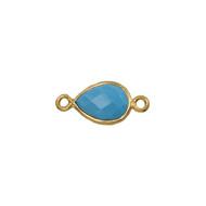 Connector Turquoise 10x7mm Pear Bezel Vermeil - each