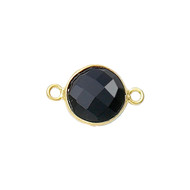 Connector Onyx Black 8mm Round Bezel Vermeil - each