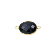 Connector Onyx Black 11x15mm Oval Bezel Gold Vermeil - each