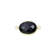 Connector Onyx Black 11x15mm Oval Bezel Gold Vermeil - each