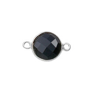Connector Onyx Black 8mm Round Bezel Sterling Silver - each