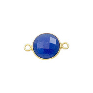 Connector Sapphire Blue Dyed 8mm Round Bezel Gold Vermeil - each