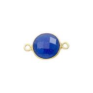 Connector Sapphire Blue Dyed 8mm Round Bezel Gold Vermeil - each