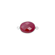 Connector Dyed Ruby Oval 11x15mm Bezel Sterling Silver - each