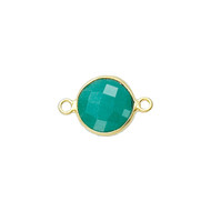 Connector Emerald Dyed 8mm Round Bezel Gold Vermeil - each