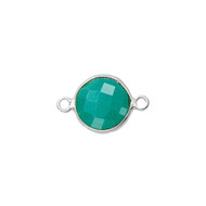 Connector Emerald Dyed 6mm Round Bezel Sterling Silver - each
