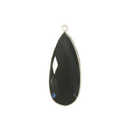 Pendant Black Onyx 14x32mm Pear Bezel Sterling Silver - each