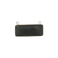 Pendant Two Loop Black Onyx 12x30mm Rectangle Bezel Sterling Silver - each