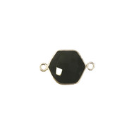 Connector Black Onyx 12mm Hexagon Bezel Sterling Silver - each