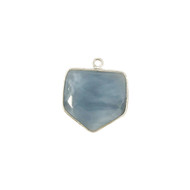 Pendant Blue Opal 18mm Pentagon Bezel Sterling Silver - each