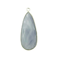 Pendant Blue Opal 14x34mm Pear Bezel Sterling Silver - each