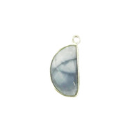 Pendant Blue Opal 9x18mm Half Moon Bezel Sterling Silver - each