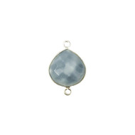 Connector Blue Opal 15mm Teardrop Bezel Sterling Silver - each